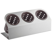 Steril-Sil Cantilever 3-Cylinder Stainless Steel Flatware Organizer with Brown Perforated Plastic Cylinders