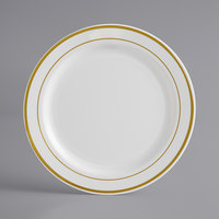 Gold Visions 7 inch Bone / Ivory Plastic Plate with Gold Bands - 150/Case