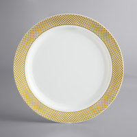 Gold Visions 10 inch Bone / Ivory Plastic Plate with Gold Lattice Design - 120/Case