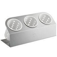 Steril-Sil Cantilever 3-Cylinder Stainless Steel Flatware Organizer with White Perforated Plastic Cylinders