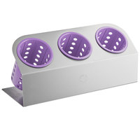 Steril-Sil Cantilever 3-Cylinder Stainless Steel Flatware Organizer with Violet Perforated Plastic Cylinders