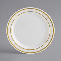 Gold Visions 6 inch Bone / Ivory Plastic Plate with Gold Bands - 150/Case