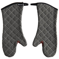 San Jamar 800FG17-BK 17 inch Bestguard Gray Oven Mitts with WebGuard Plus Protection