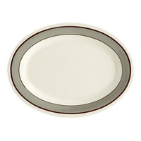 GET OP-120-CA 12 inch x 9 inch Diamond Cambridge Oval Platter - 12/Case