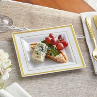 Gold Visions 6 inch Square White Plastic Plate with Gold Bands - 120/Case