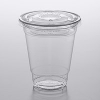 Choice 12 oz. Clear Plastic Cold Cup with 2 oz. Insert and PET Flat Lid with No Hole - 100/Pack