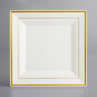 Gold Visions 10 inch Bone / Ivory Plastic Square Plate with Gold Bands - 120/Case