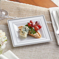Silver Visions 6 inch Square White Plastic Plate with Silver Bands - 120/Case