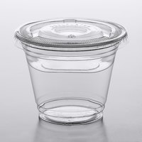 Choice 9 oz. Clear Plastic Squat Cold Cup with 4 oz. Insert and PET Flat Lid with No Hole - 100/Pack