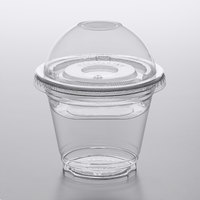Choice 9 oz. Clear Plastic Squat Cold Cup with 4 oz. Insert and PET Dome and Flat Lids with No Hole   - 100/Pack