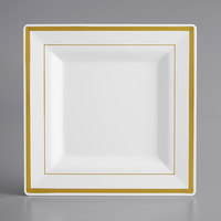 Gold Visions 8 inch Square White Plastic Plate with Gold Bands - 120/Case