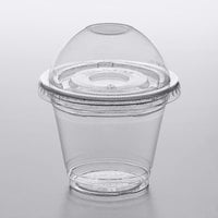 Choice 9 oz. Clear Plastic Squat Cold Cup with 2 oz. Insert and PET Dome and Flat Lids with No Hole - 100/Pack