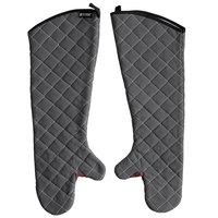 San Jamar 800FG24-BK 24 inch Bestguard Gray Oven Mitts with WebGuard Plus Protection