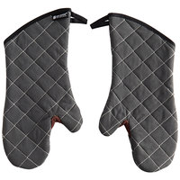 San Jamar 800FG15-BK 15 inch Bestguard Gray Oven Mitts with WebGuard Plus Protection