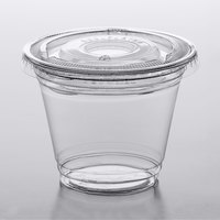 Choice 9 oz. Clear Plastic Squat Cold Cup with 2 oz. Insert and PET Flat Lid with No Hole - 100/Pack