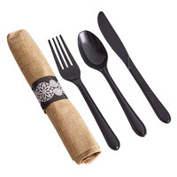 Hoffmaster 120006 CaterWrap 15 1/2 inch x 15 1/2 inch FashnPoint Pre-Rolled Burlap Print Dinner Napkin and Black Heavy Weight Plastic Cutlery Set - 100/Case