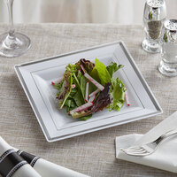 Silver Visions 8 inch Square White Plastic Plate with Silver Bands - 120/Case