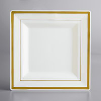 Gold Visions 8 inch Square Bone / Ivory Plastic Plate with Gold Bands - 120/Case