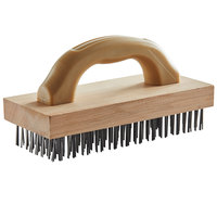 Carlisle 4067600 9 3/8 inch x 3 3/4 inch Wooden Butcher Block Brush with Steel Bristles and Handle