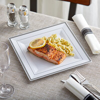 Silver Visions 10 inch Square White Plastic Plate with Silver Bands - 120/Case
