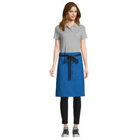 Uncommon Threads 3118 Blue Customizable 100% Cotton Canvas Mod Waist Apron with Black Webbing and 3 Pockets - 24 inchL x 34 inchW