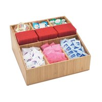 Cal-Mil 1714-60 Bamboo Coffee Condiment Organizer - 12 inch x 12 inch x 5 1/2 inch
