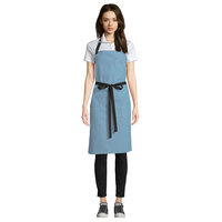 Uncommon Threads 3116 Blue Gray Customizable 100% Cotton Canvas Aura Bib Apron with Black Webbing and 3 Pockets - 34 inchL x 36 inchW