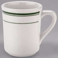 Tuxton TGB-017 Green Bay 8 oz. Eggshell China Tiara Mug / Cup with Green Bands - 36/Case