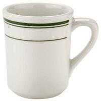 Tuxton TGB-017 Green Bay 8 oz. Eggshell China Tiara Mug / Cup with Green Bands - 36/Case