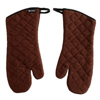 San Jamar 817TM-BR 17 inch Brown Terry Oven Mitts