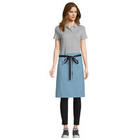 Uncommon Threads 3118 Blue Gray Customizable 100% Cotton Canvas Mod Waist Apron with Black Webbing and 3 Pockets - 24 inchL x 34 inchW