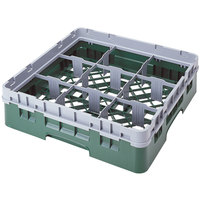 Cambro 9S318119 Sherwood Green Camrack 9 Compartment 3 5/8 inch Glass Rack