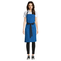 Uncommon Threads 3116 Blue Customizable 100% Cotton Canvas Aura Bib Apron with Black Webbing and 3 Pockets - 34 inchL x 36 inchW