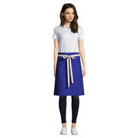 Uncommon Threads 3117 Deep Royal Customizable 100% Cotton Canvas Moxie Waist Apron with Natural Webbing and 3 Pockets - 24 inchL x 34 inchW