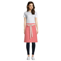Uncommon Threads 3117 Coral Pink Customizable 100% Cotton Canvas Moxie Waist Apron with Natural Webbing and 3 Pockets - 24 inchL x 34 inchW