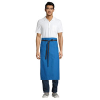 Uncommon Threads 3120 Blue Customizable 100% Cotton Canvas Muse Bistro Apron with Black Webbing and 1 Pocket - 33 inchL x 31 inchW