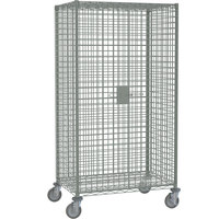 Metro SEC53EC Chrome Mobile Standard Duty Wire Security Cabinet with Casters (Two Locking) - 40 3/4 inch x 27 1/4 inch x 68 1/2 inch