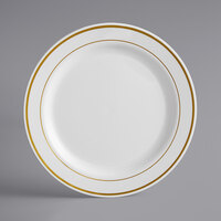 Gold Visions 9 inch Bone / Ivory Plastic Plate with Gold Bands - 12/Pack