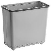 Rubbermaid FGWB30RGR 30 Qt. / 7.5 Gallon Gray Rectangular Steel Fire-Resistant Wastebasket / Trash Can