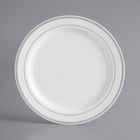 Silver Visions 7 inch White Plastic Plate with Silver Bands - 15/Pack