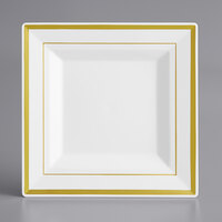 Gold Visions 6 inch Square White Plastic Plate with Gold Bands - 12/Pack