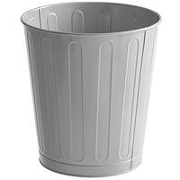Rubbermaid FGWB26GR 26 Qt. / 6.5 Gallon Gray Round Steel Fire-Resistant Wastebasket / Trash Can