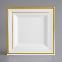 Gold Visions 8 inch Square White Plastic Plate with Gold Bands - 10/Pack