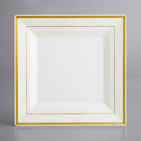 Gold Visions 10 inch Square Bone / Ivory Plastic Plate with Gold Bands - 10/Pack