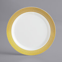 Gold Visions 6 inch Bone / Ivory Plastic Plate with Gold Lattice Design - 15/Pack