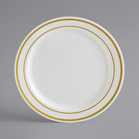 Gold Visions 6 inch Bone / Ivory Plastic Plate with Gold Bands - 15/Pack