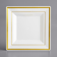 Gold Visions 6 inch Square Bone / Ivory Plastic Plate with Gold Bands - 10/Pack