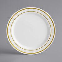 Gold Visions 6 inch White Plastic Plate with Gold Bands - 15/Pack