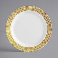 Gold Visions 9 inch Bone / Ivory Plastic Plate with Gold Lattice Design - 12/Pack