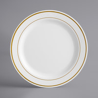 Gold Visions 9 inch White Plastic Plate with Gold Bands - 12/Pack